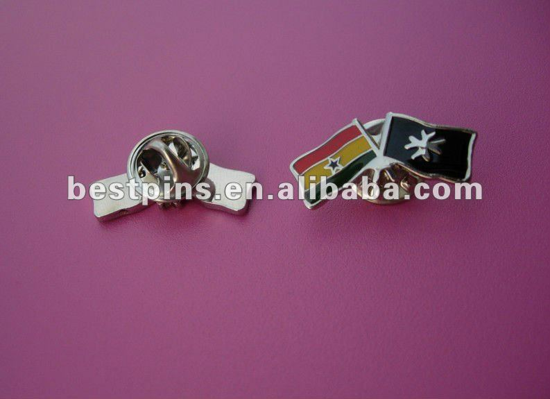 custom double flag pin metal national flag lapel pin