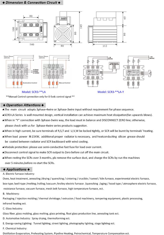 3 fazlı Kontrol Cihazı Otomatik Güç Regülatörü Tristör Uygulamaları SCR ile 4-20ma/0-5vdc/0-10vdc Kontrol Sinyal Denetleyicisi