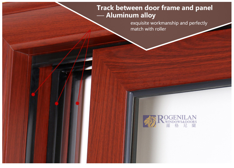 Rogenilan Modren Design Aluminum Wood Frame Glass Door Design For ...