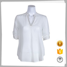Cheap magic long sleeve chiffon ladies white blouse