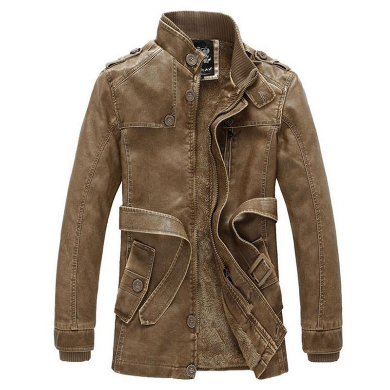 Mens Leather Jackets And Coats 2015 Winter Long Leather Jacket Men Slim Fit Casual Leather Motorcycle Jacket Plus Size 3XL WJ02