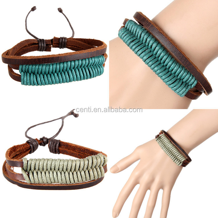 Hand woven leather bracelet cord braided leatehr bangle jewelry