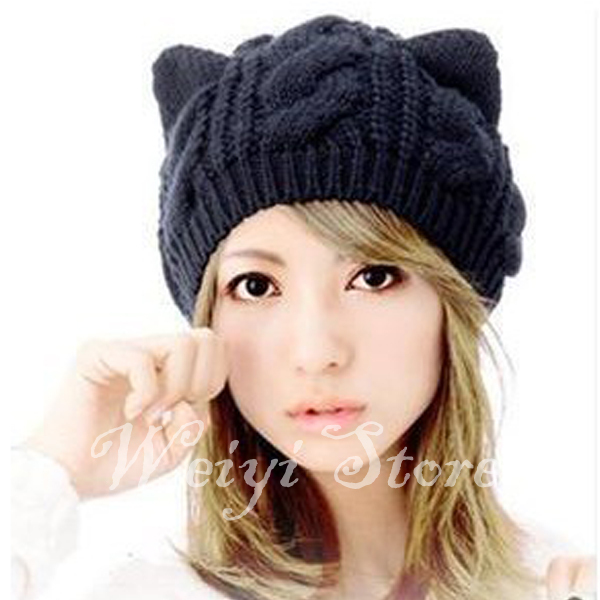 Get Quotations · Free Shipping Brand Beanie With Cat Ears Beanies Wholesale  Brazil Female Caps Knitted Hats For Women 1dc830fae11c