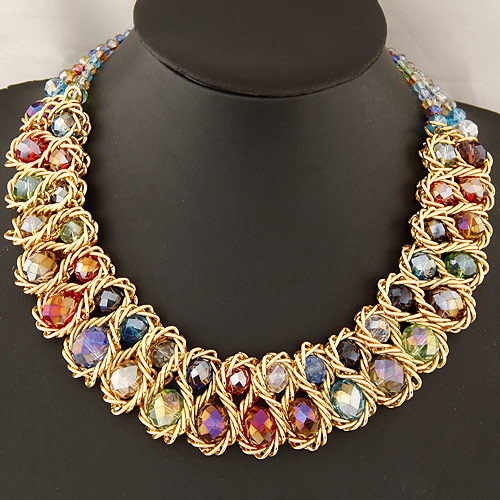 Fashion Necklace for Women 2015 vintage collar gold chain big double crystal bead choker necklaces pendants