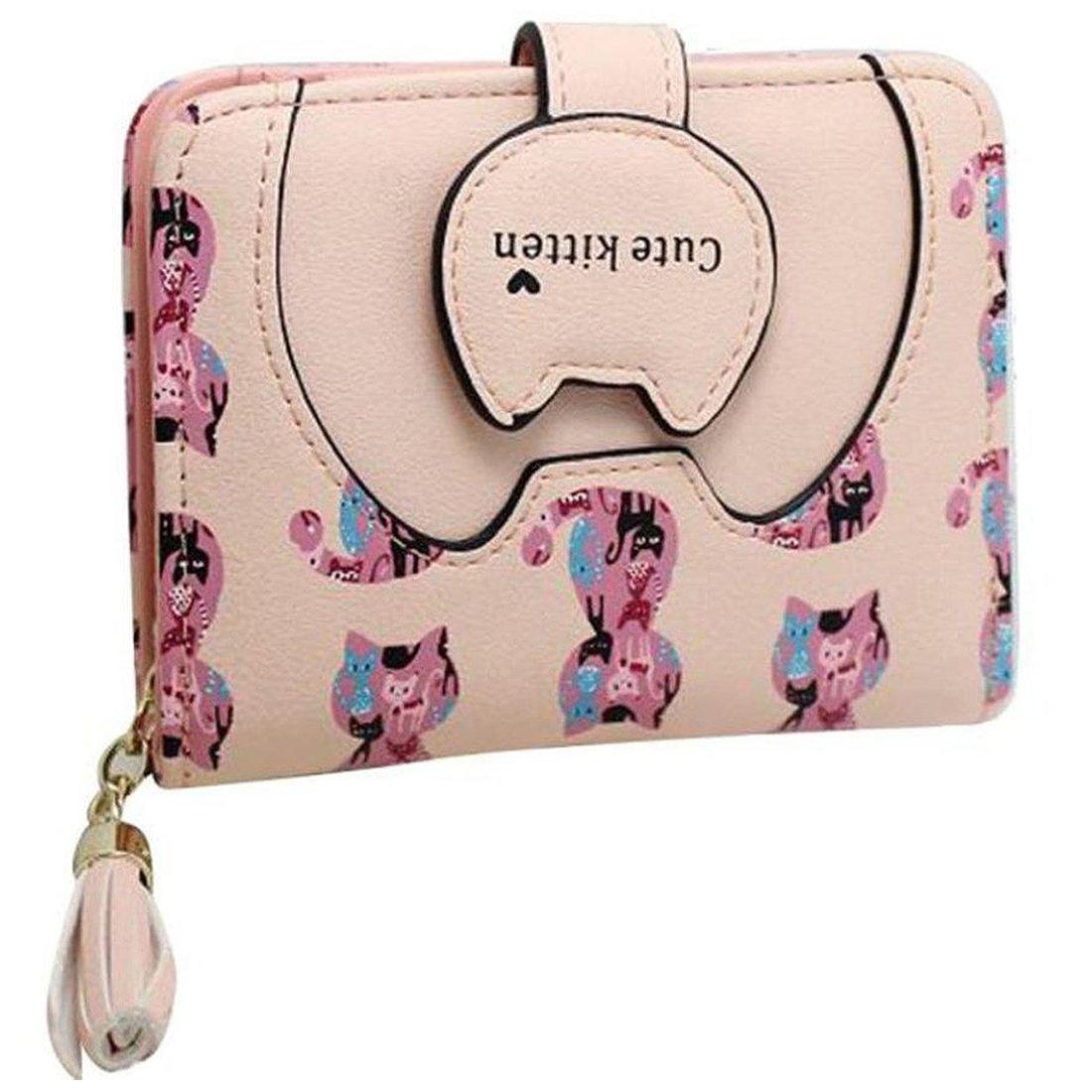 Women Short Wallet - TOOGOO(R)Ctue Women Cat Purse Short Wallet Bags Handbags Card Holder (Beige)