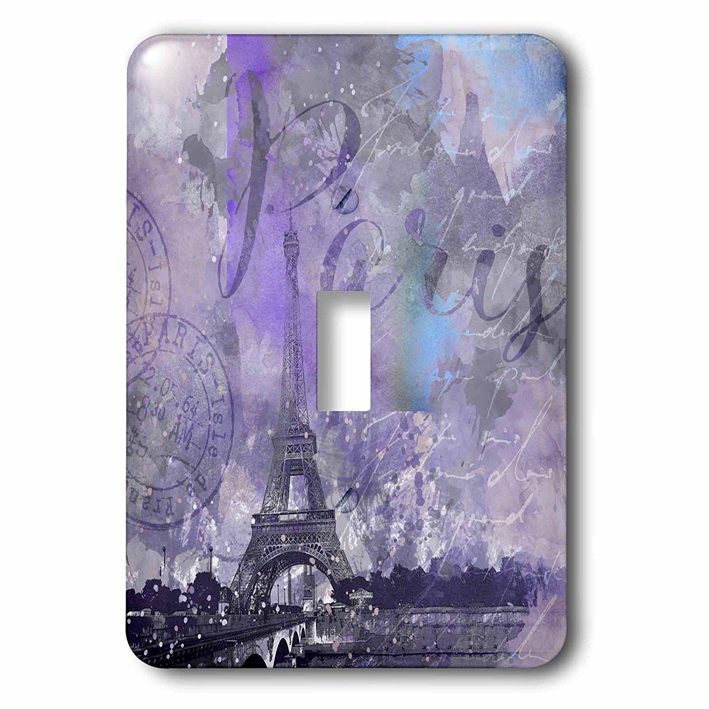 3dRose (lsp_264695_1) Single Toggle Switch (1) Paris Watercolor Illustration Purple