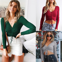 factory wholesale fat girl Summer fashion casual daily plus size Holiday V-neck long sleeve Drawstring Women's clothing