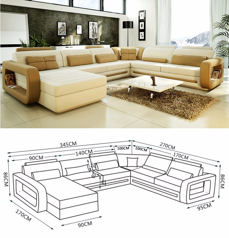 New Model Classic Design Pictures Genuine Leather Furniture L Or U