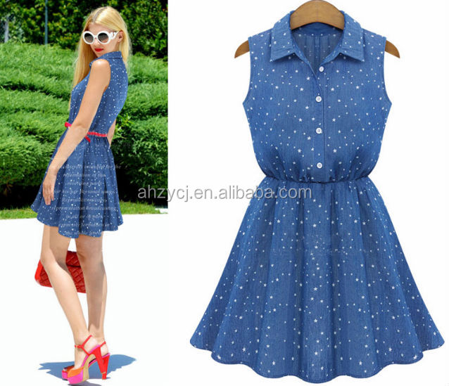 New ladies clothings Europe and America summer sleeveless fashion star design jean dress
