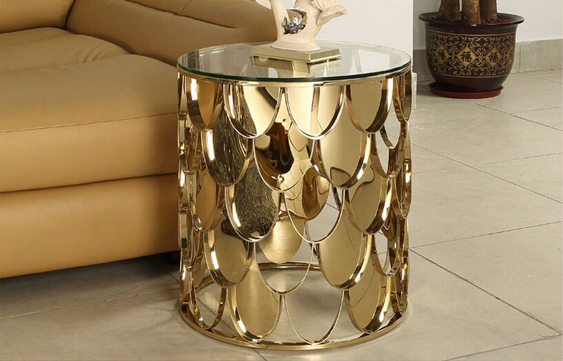 Rose Gold Color Stainless Steel Glass Coffee Table Living Room Furniture Modern Glass Coffee