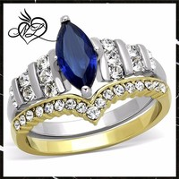 Two Toned Stainless Steel 316 Blue Marquise Glass 2pc Wedding Ring Set Size 5-10