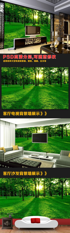 Qz186 Heimtextilien Bambus 3d Tapete Wohnzimmer Innendekoration Wald ...