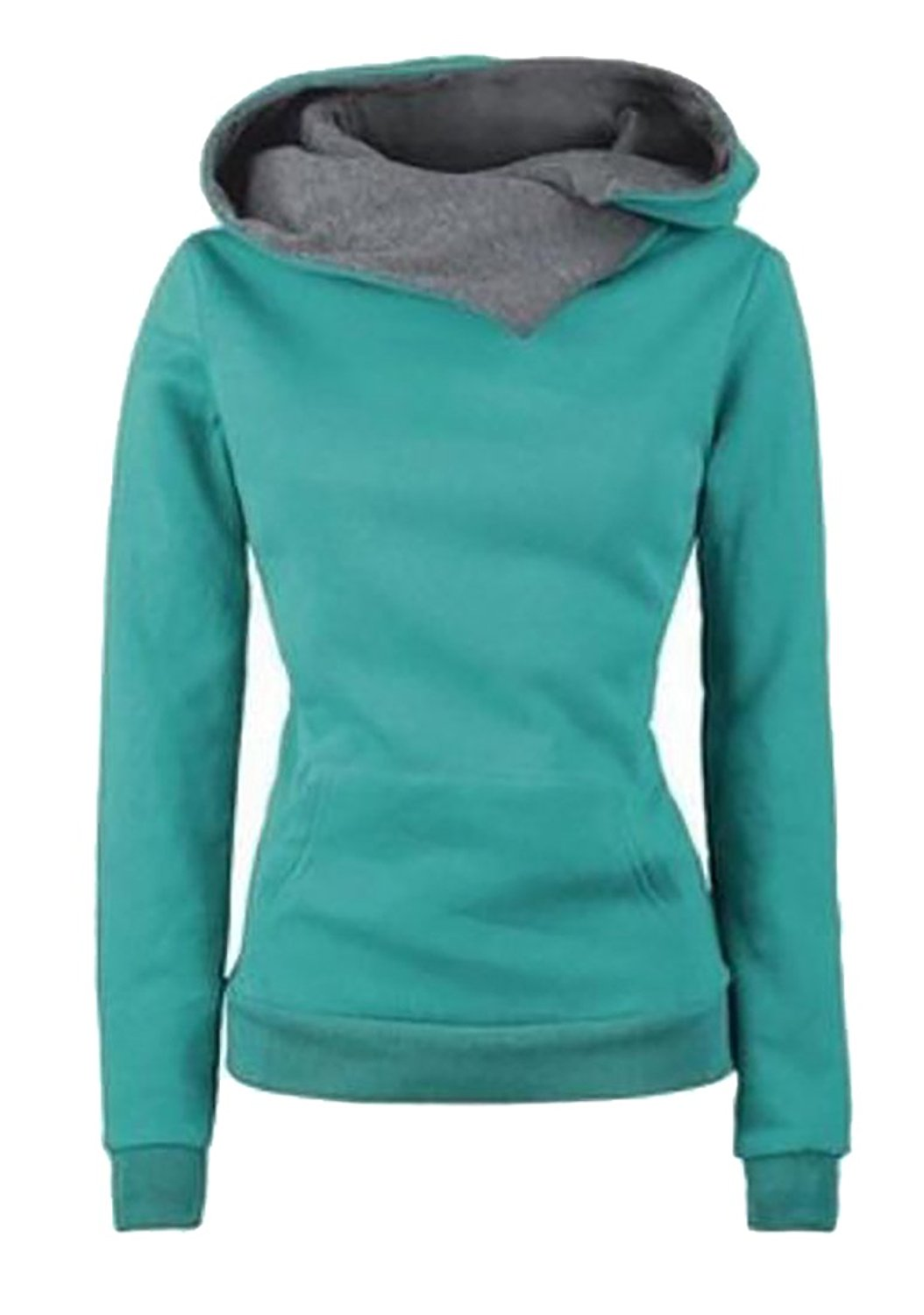 ONTBYB Women's Solid Funnel Neck Hoodies Solid Color Pullover Hooded Sweatshirt