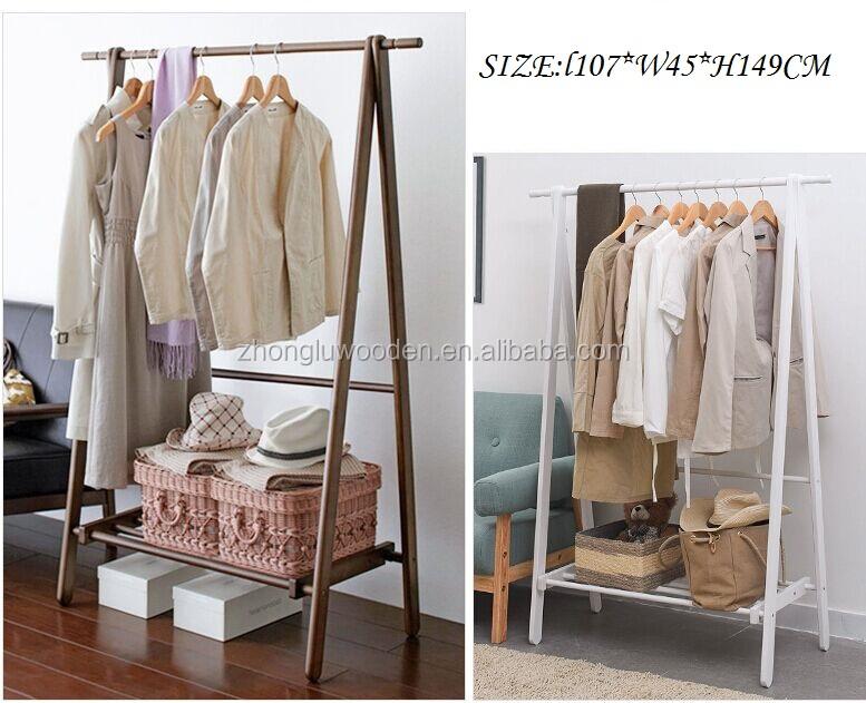 natural de madera perchero ropa holder suspensin de tela