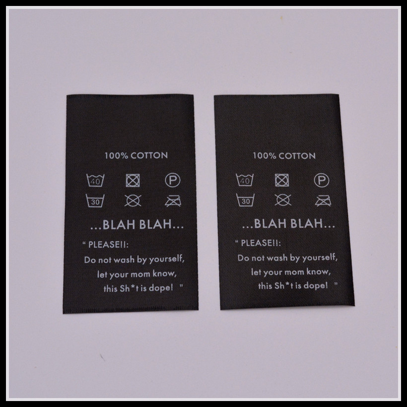 Factory manufacture black satin labels for clothing