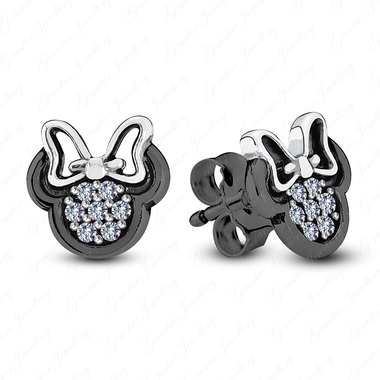 Gemstar Jewellery 14K Rose Gold Finish Round Cut Black Simulated Diamond Fashion Heart Toe Ring