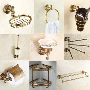 antique engraved towel rack soap dish paper holder hair dryer