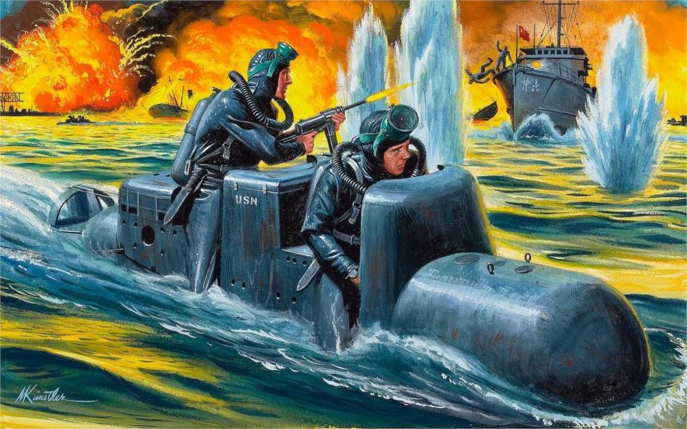Art port water area man-torpedo SLC <font><b>Italian</b></font> frogmen attack ships explosions fire 4 Sizes <font><b>Home</b></font> <font><b>Decoration</b></font> Canvas Poster Print