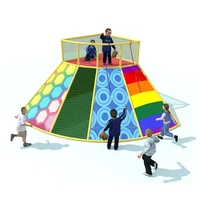 Cheerful Amusement Handmade Climbing Station Netting Soft Play Equipment for kids Indoor and Outdoor Volcano Playground