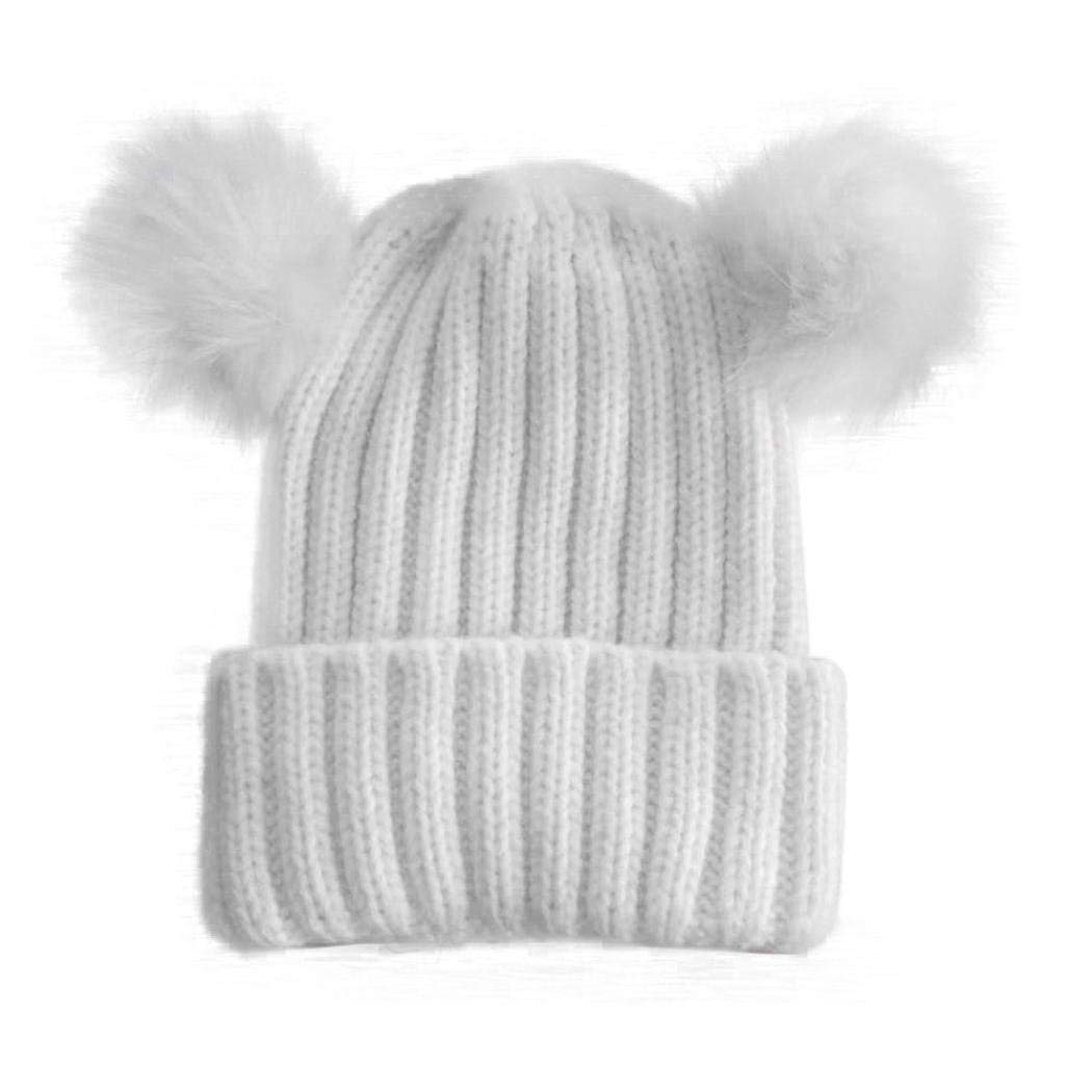 cd6f3f3fe Get Quotations · Suit for 0-3 Years old Baby,DIGOOD Baby Dual Balls Beanie  Warm Knitted