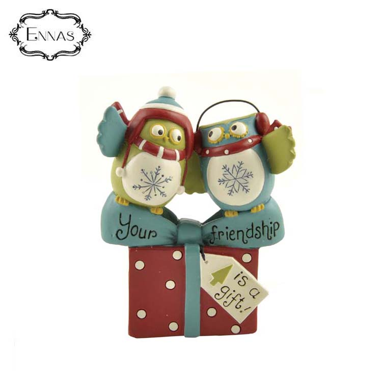 Owls statue with 'your friendship' present animal crafts room display accessories