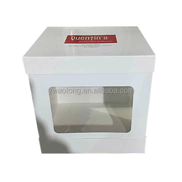 2017 New Design 400g Ivory Board White 14inch Tall Wedding Cake Box