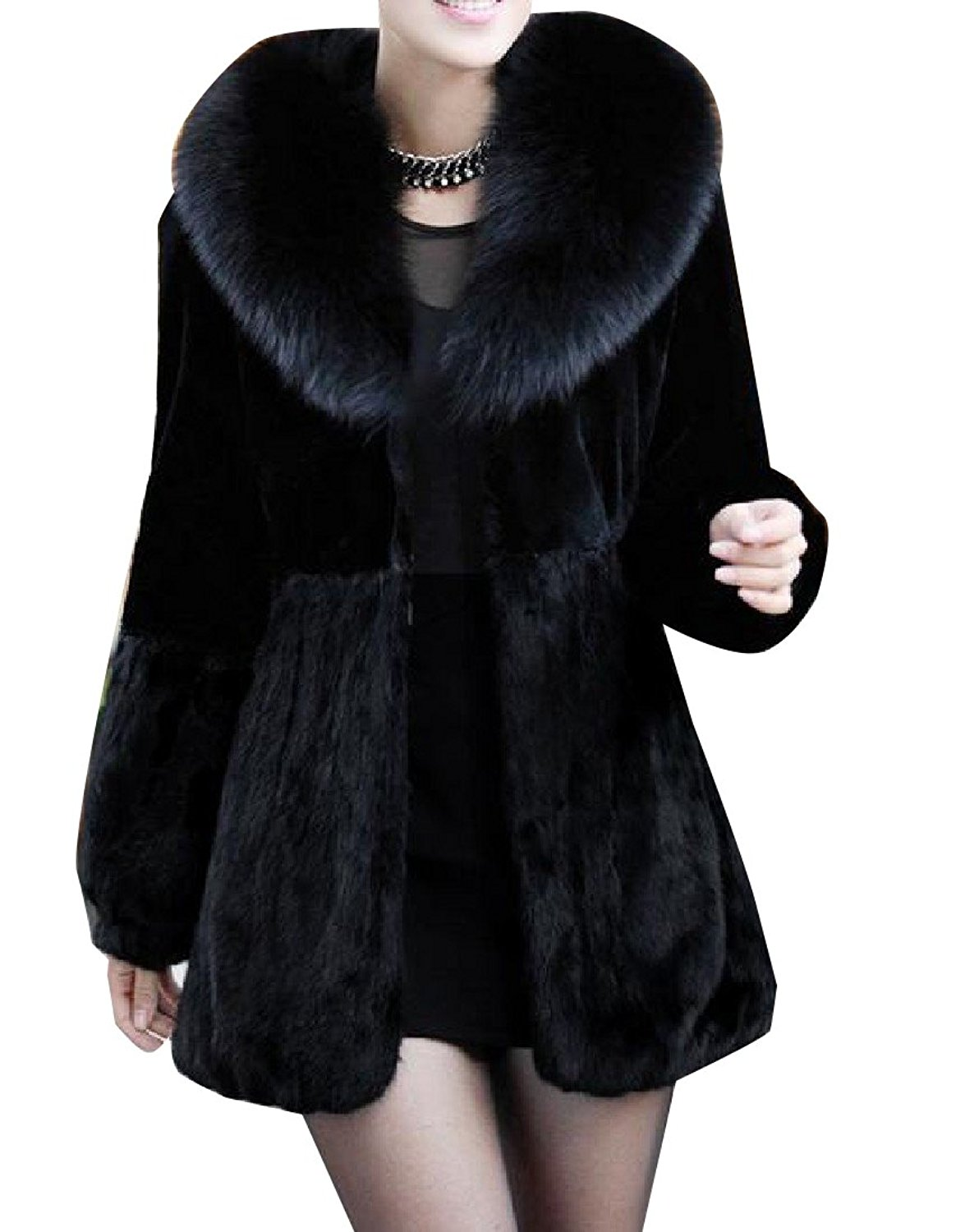 Zimaes-Women Solid-Colored Mid-Long Faux Fur Fluffy Tops Outwear