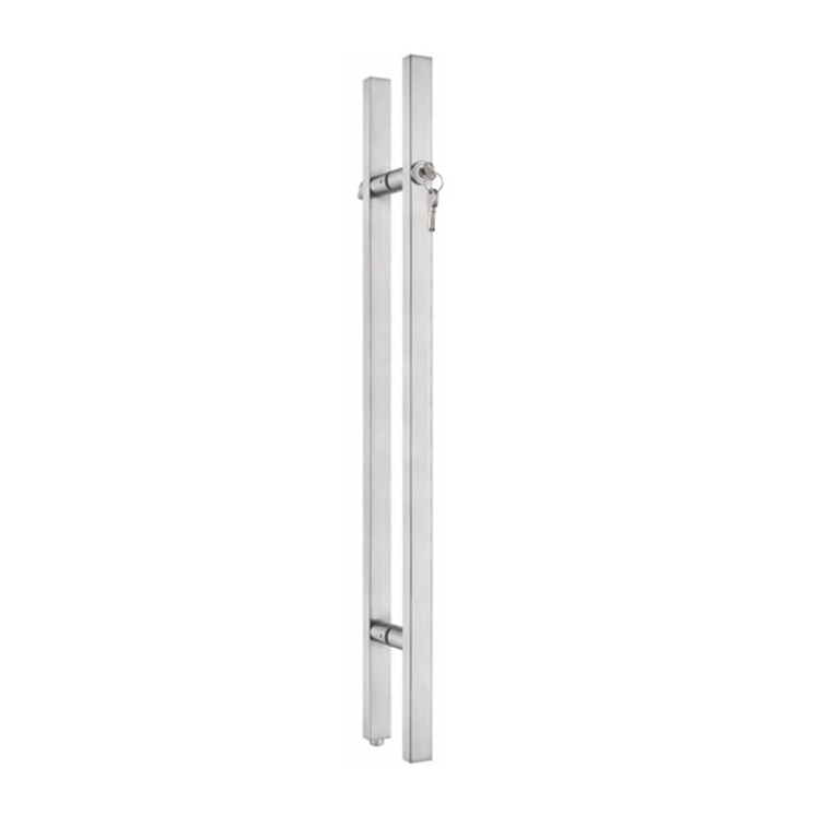 Stainless steel extra length ladder style swift glass door handle with lock