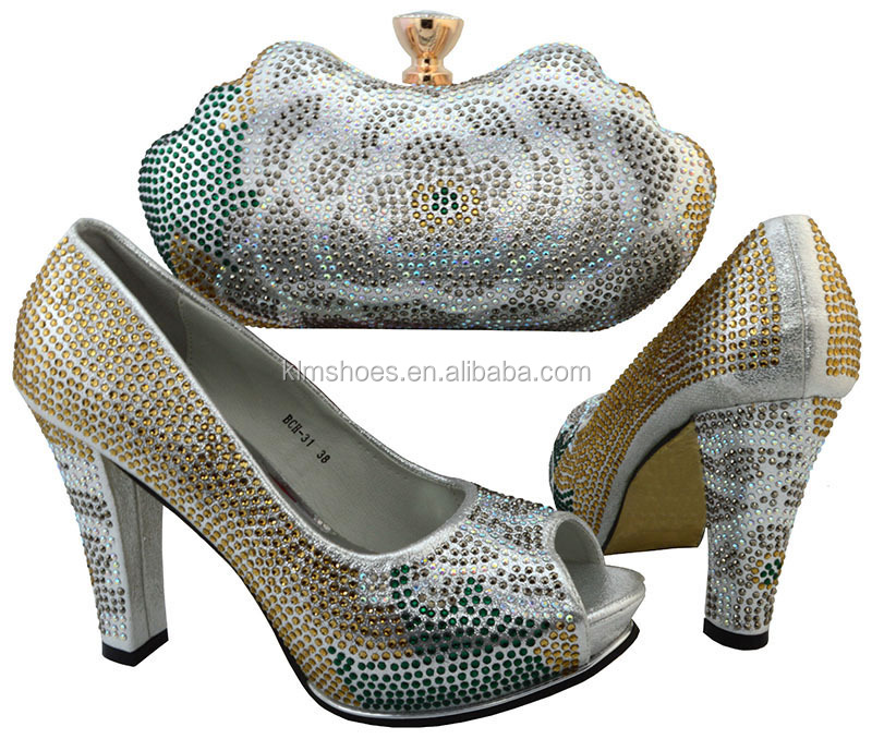 Silver 31 Set Shoes Wedding Wedding And Nigerian Bag High And Bag Set Shoe For Set Color Shoe Quality BCH wUrqpU