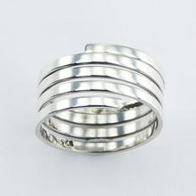 Plain Sterling Silver Spiral Ring Tightly Handcrafted Flat Wire