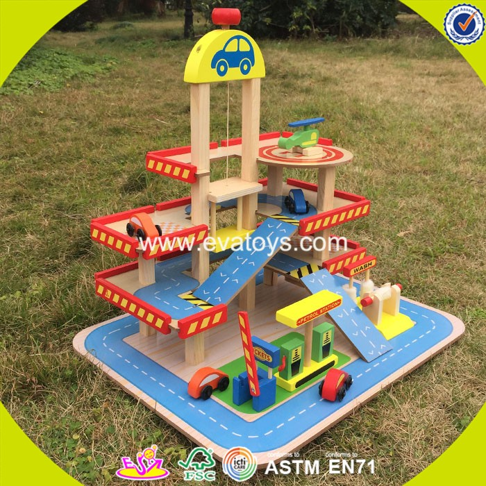 2017 wholesale toddlers wooden car garage toy funny kids wooden car garage toy cheap children wooden