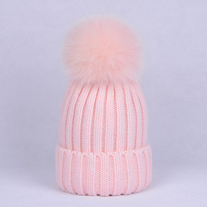 Winter Mom And Kids Fox Raccoon Fur Pompom Hats Thick Warm Beanie Cap Wool Knitted Bonnet Matching Hat