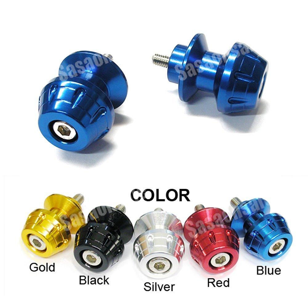 MIT Motors - BLUE - 6mm Universal Swingarm Spools - Yamaha YZF600 R6, YZF1000 R1, YZF 600, 1000, FZ-1, FZ-8, Aprilia RS50, RS125, RS250, Triumph Speed Triple 675, Daytona 675