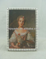 Silver Plated Jeweled Metal Alloy Pewter Picture Photo Frame(P0149257c)