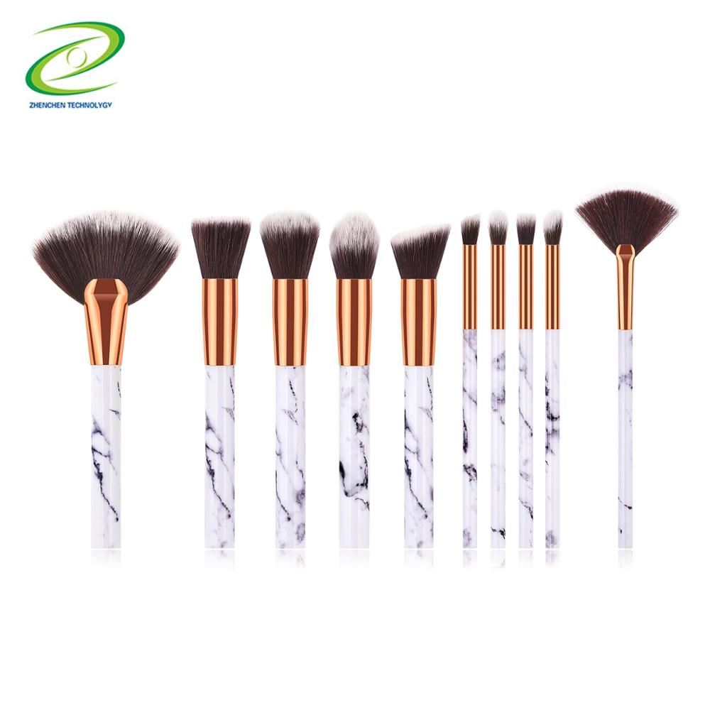 Hohe qualität marmor griff make-up pinsel/synthetische haar make up pinsel