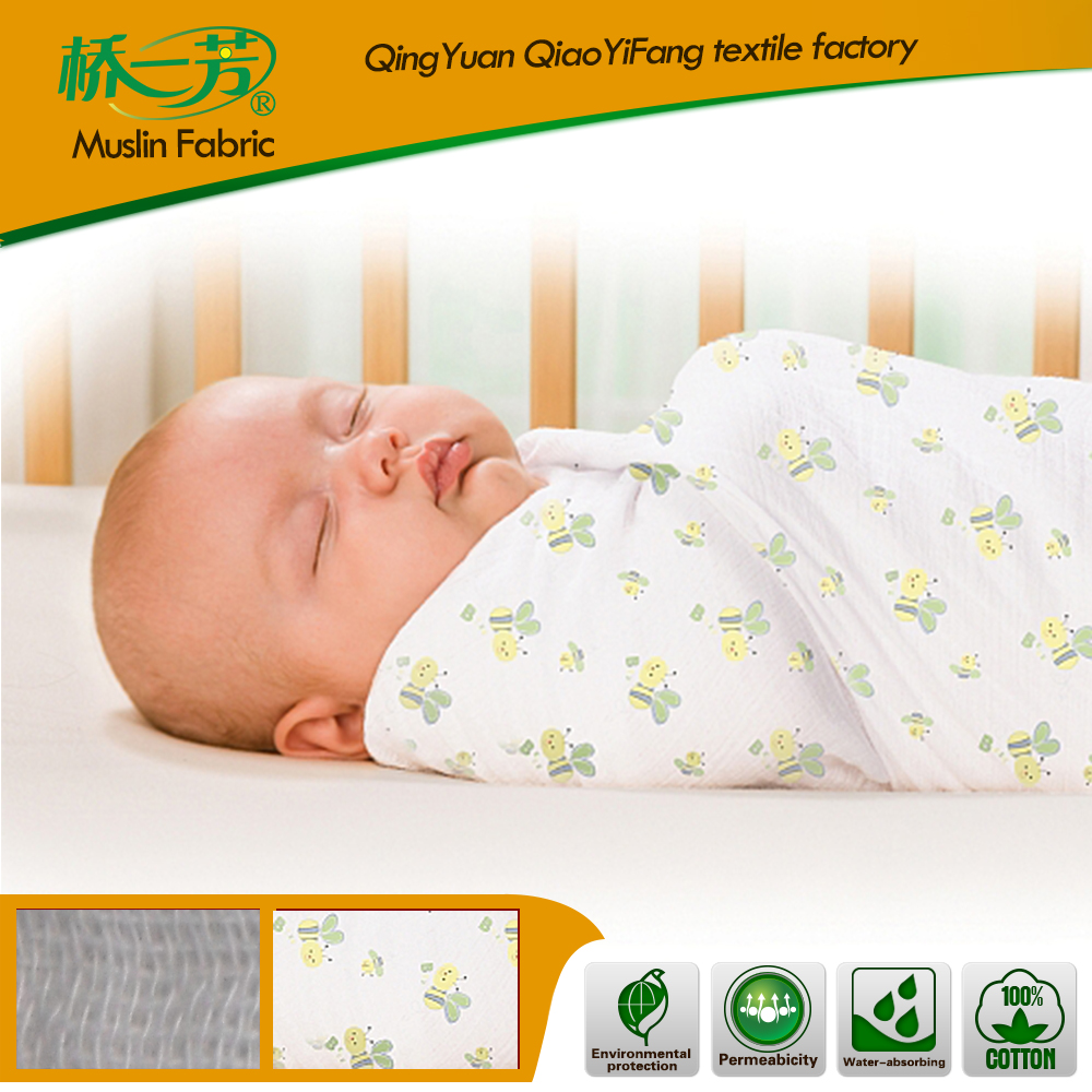 Organic/Gots Swaddle Blankets Newborn Cotton Baby Muslin Cloth, Cotton Muslin