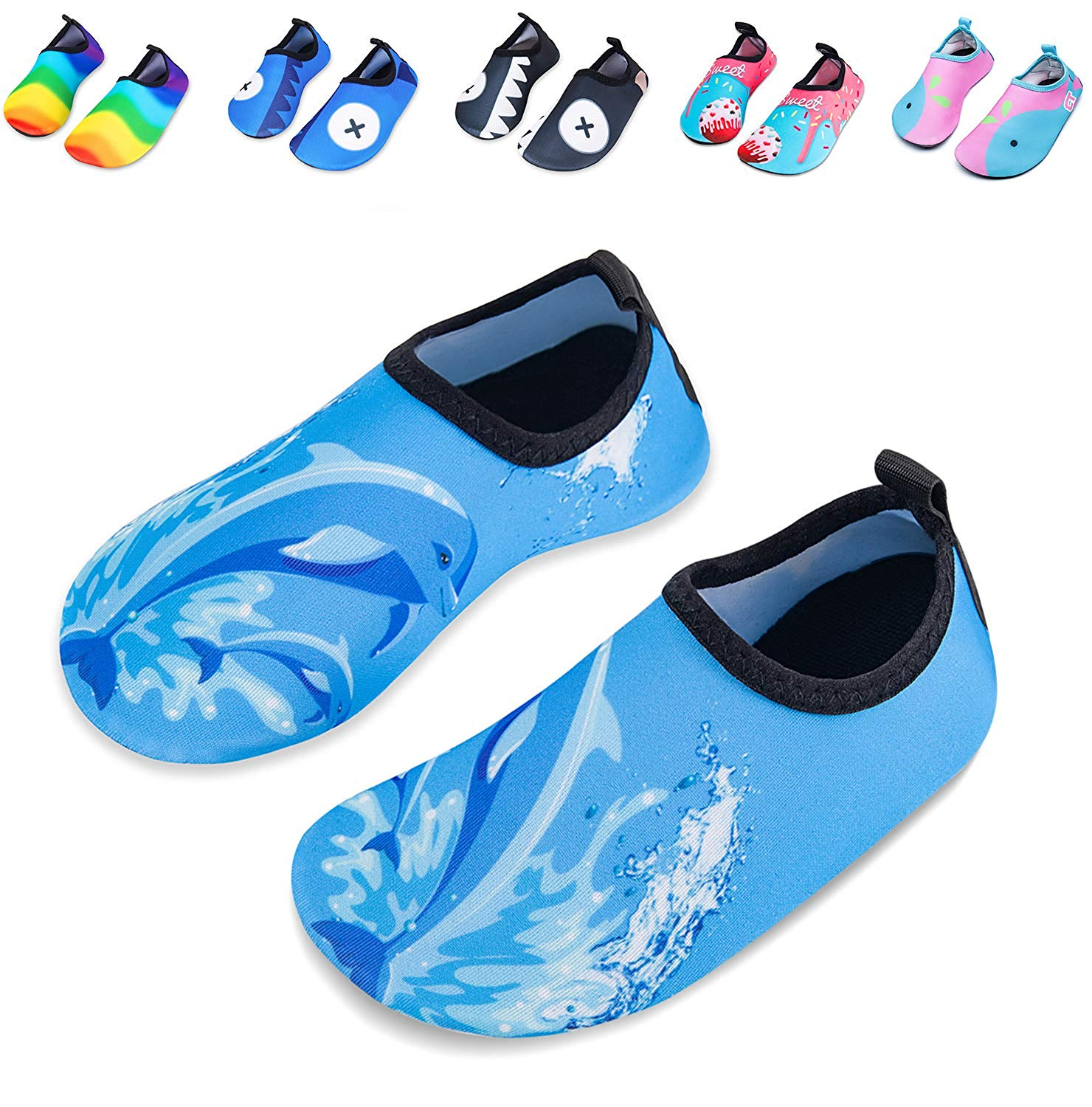 351bc7999b53 Get Quotations · Mabove Kids Swim Water Shoes Non-Slip Quick Dry Barefoot Aqua  Pool Socks Shoes for