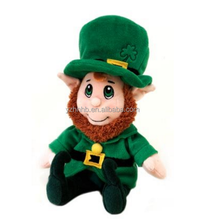 OEM Plush Lucky Leprechaun Toy For Festival WIth bean plastic Can sit and Stand