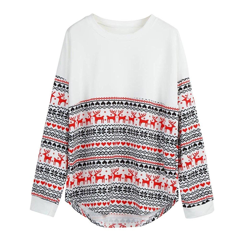 Blouse,Han Shi Women Merry Christmas Print Patchwork Long Sleeve Loose Tops Shirt Hoodies
