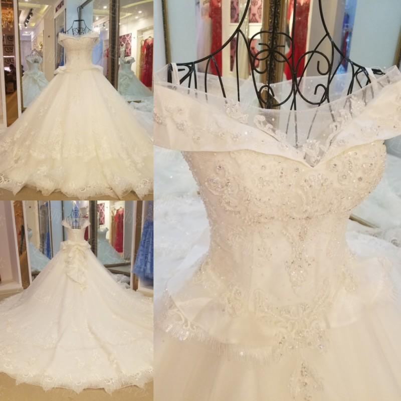 f96ba35ebd LS15890 fábrica vestido real impresión nupcial colecciones de satén blanco  vestido de ...