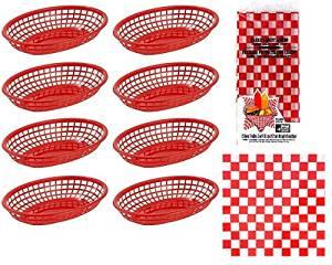 Hot Dog, Burger, Sandwich Serving Set for 8 Guests - 8 Red Fast Food Baskets and 15 Red Checkered Restaurant Deli Basket Liners bundle