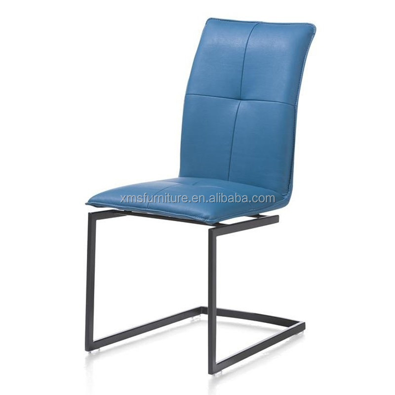 Cheap Metal Furniture Store Chairs Blue Faux Leather Home Dining Chair