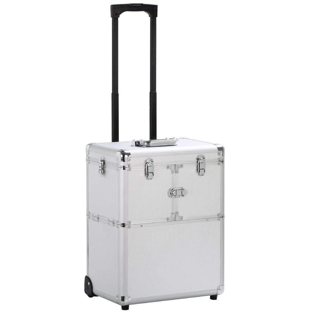 Topeakmart Aluminium Multifunction Mobile Tool Storage Box Cosmetics Hairdresser Beautician Wheeled Chest Carry Case Trolley for Salon/Home/Office/Dorm/Apartment