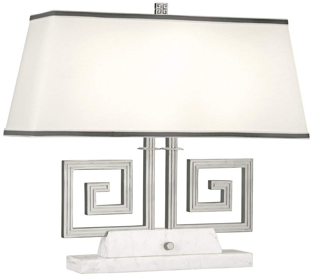 Robert Abbey S441 Jonathan Adler Mykonos - Two Light Table Lamp, Polished Nickel/White Marble Finish with Rectangular Fondine Fabric/Smoke Gray Shade