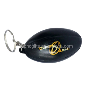Advertising PU foam Anti Stress Keychain Rugby Squeeze toy balls