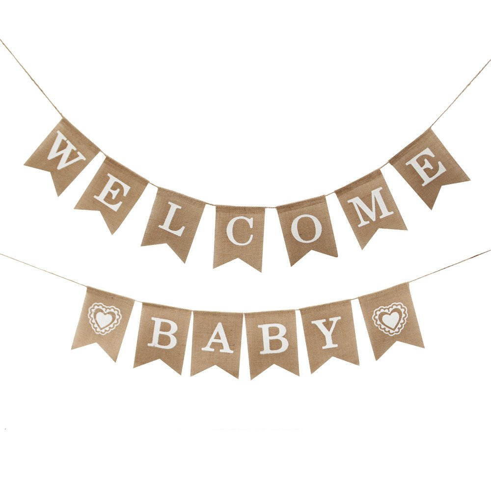 Betalala Welcome Baby Burlap Banner-Vintage Party Decorations - Baby Shower Decorations