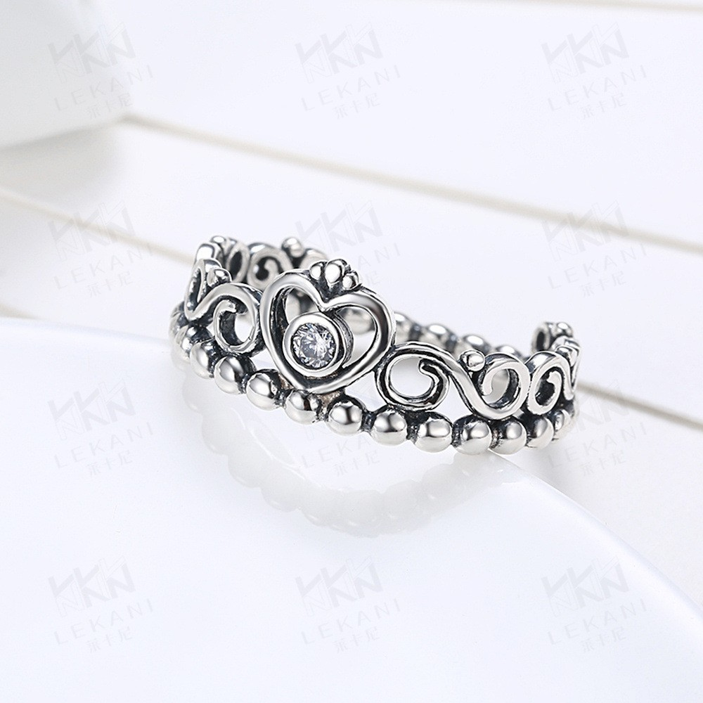 High quality retro 925 sterling silver flower crown ring with clear high quality retro 925 sterling silver flower crown ring with clear cz engagement crown ring jewelry izmirmasajfo