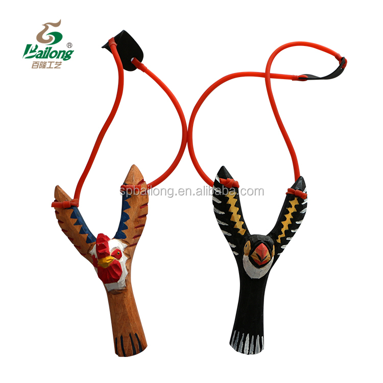 7 days delivery Hand carved wooden kids toy bird slingshot