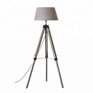 Nordic floor lamp modern wood tripod LED standing light with fabric shade