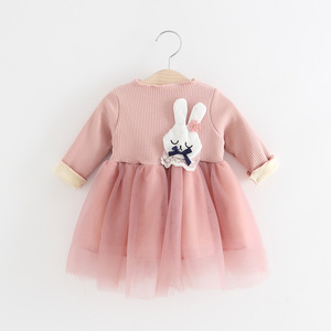 Hot sale babys girls pink color velvet dress with lace